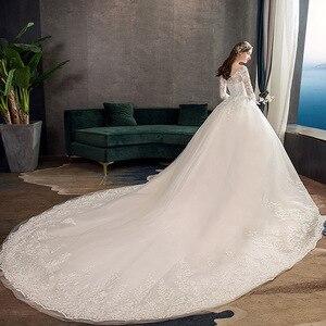 Image 3 - 2021 חדש Vintage O צוואר מלא שרוול שמלות כלה אשליה פשוט תחרה רקמה תפור לפי מידה כלה שמלת Vestido דה Noiva L