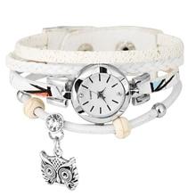 Women's Owl Pendant Circle Winding Bracelet Watch Multilayer Leather Bracelets B