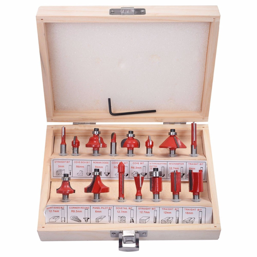 Professional 15Pcs Woodworking Carbide Router Bit Set Milling Cutter 1/4 Shank Wood Carving Engraving Tool Kit Mill Drill Bits 3pcs 1 2 shank router bit set in wooden case woodworking drill tool door plank router bits set wood woodworking cutter