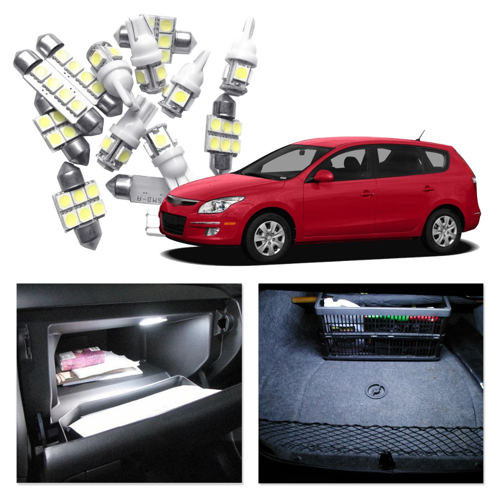 For Hyundai Elantra 2011-2015 Car LED Light Bulbs White Red Blue Interior Package Kit Map Dome Trunk License Plate Lamp