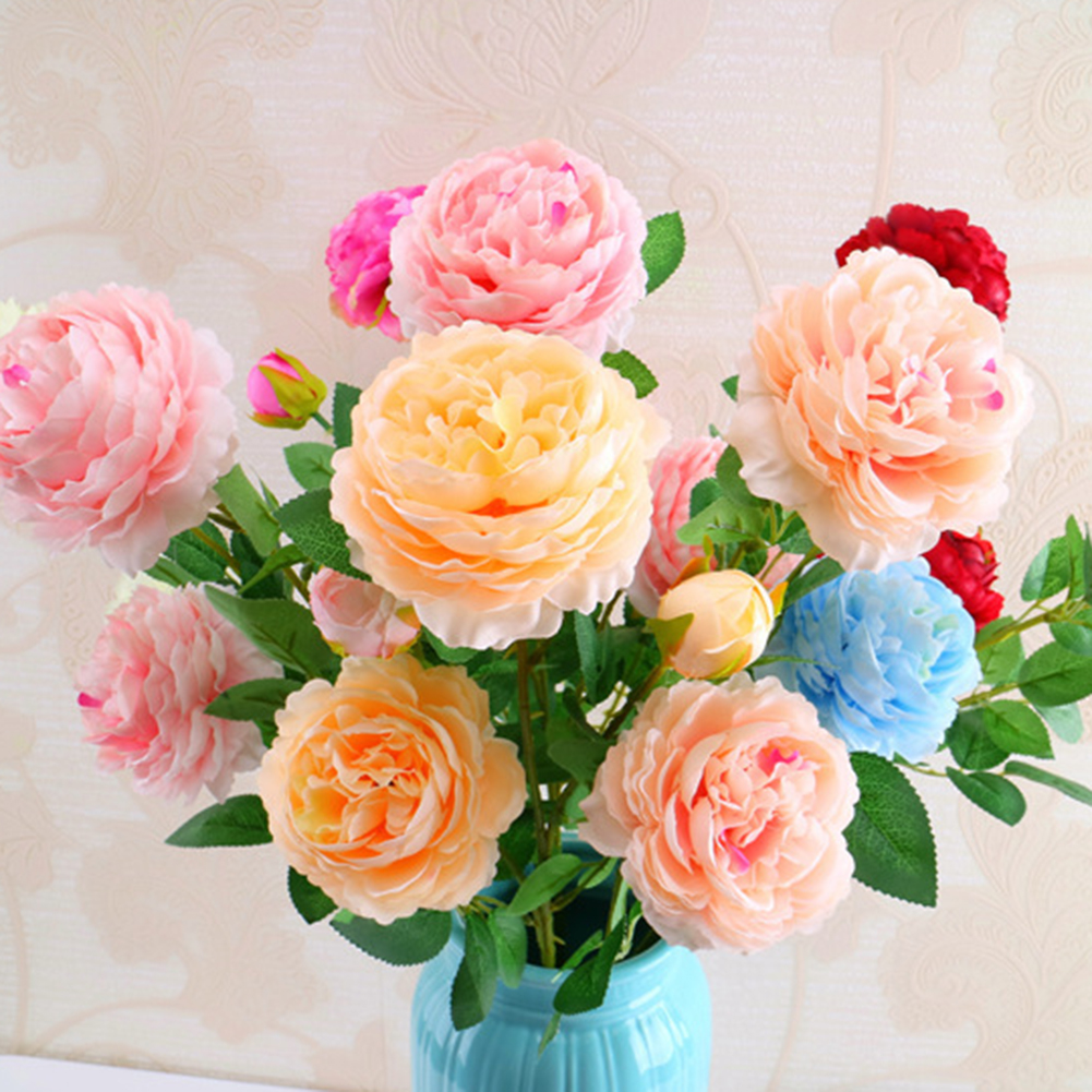 3 heads artificial flowers peony bouquet silk flowers bouquet fall 3 heads artificial flowers peony bouquet silk flowers bouquet fall vivid fake rose flower for wedding valentines day home decor in artificial dried izmirmasajfo