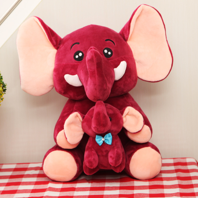 large 40cm wine red cartoon elephant mother&child plush toy soft doll throw pillow birthday gift b0947 peek a boo elephant plush toy blue ears electronic elephant toy play hide and seek baby kids soft doll birthday gift for child