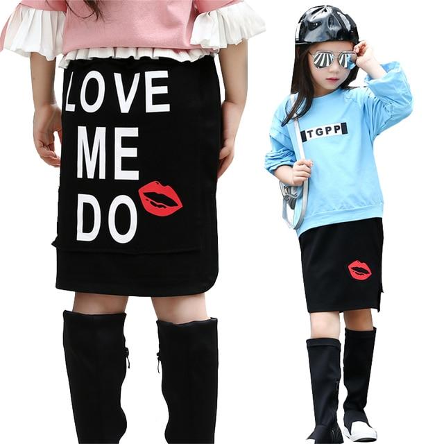 Girls Skirts Cotton Red Lip Skirts For Girls Children Clothing Letter Knee-Length Kids Petticoat Spring Elastic Waist Kid Skirts
