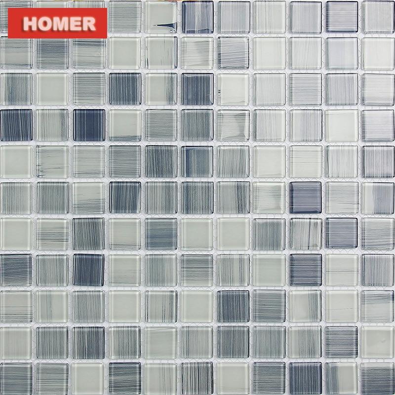gray hand painted DIY crystal glass mosaic tiles HMGM1157D ...