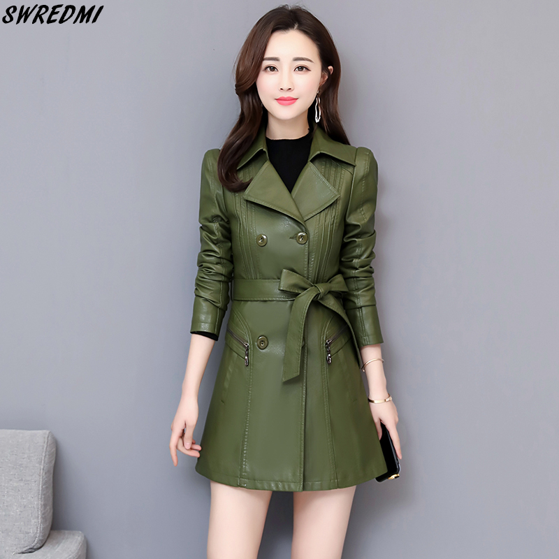 SWREDMI New Fashion Autumn Long   Leather   Trench Women Double Breasted Spring   Leather   Coat Outerwear Slim Belt Clothing Female