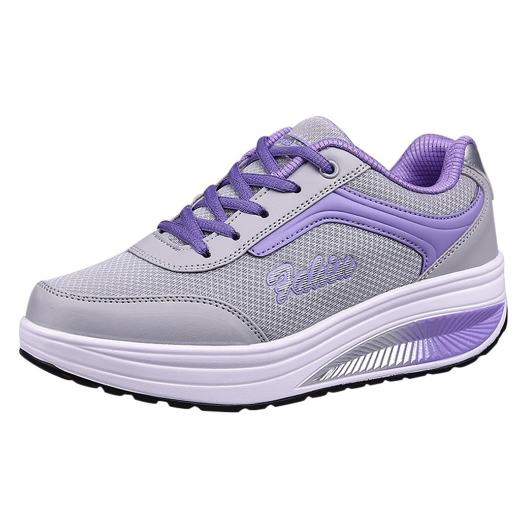 KANCOOLD Women Mesh Heightening Shoes Soft Bottom Rocking Shoes Wear-resistant Large Size Mesh Slip-On Thick Adult Sneakers