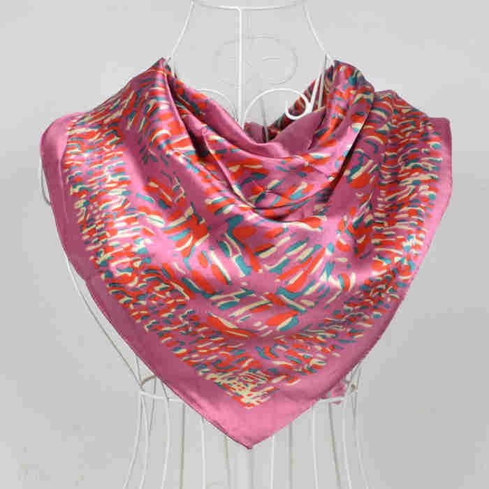 Дизайн женский Шелковый большой квадратный шелковый шарф из полиэстера, 90*90 см горячая Распродажа атласный шарф с принтом для весны, лета, осени, зимы - Цвет: 196 rosy pink