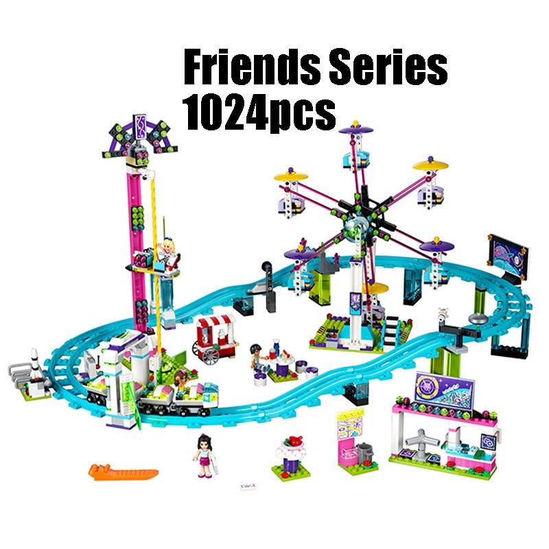01008 1024pcs Compatible with Lego blocks Friends 41130 Amusement Park Roller Coaster figure Model building toys hobbie children lepin 01008 girl series friends park roller coaster ferris wheel set model building blocks bricks children toys christmas gift