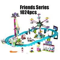 WAZ Compatible Legoe Friends 41130 Lepin 01008 1024pcs Building Blocks Amusement Park Roller Coaster Figure Toys