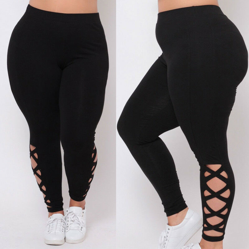 PLUS Womens Black Hollow Out Joggers Stretch Leggings Plain Summer Leggings Skinny Criss-Cross Soft Comfort L-3XL