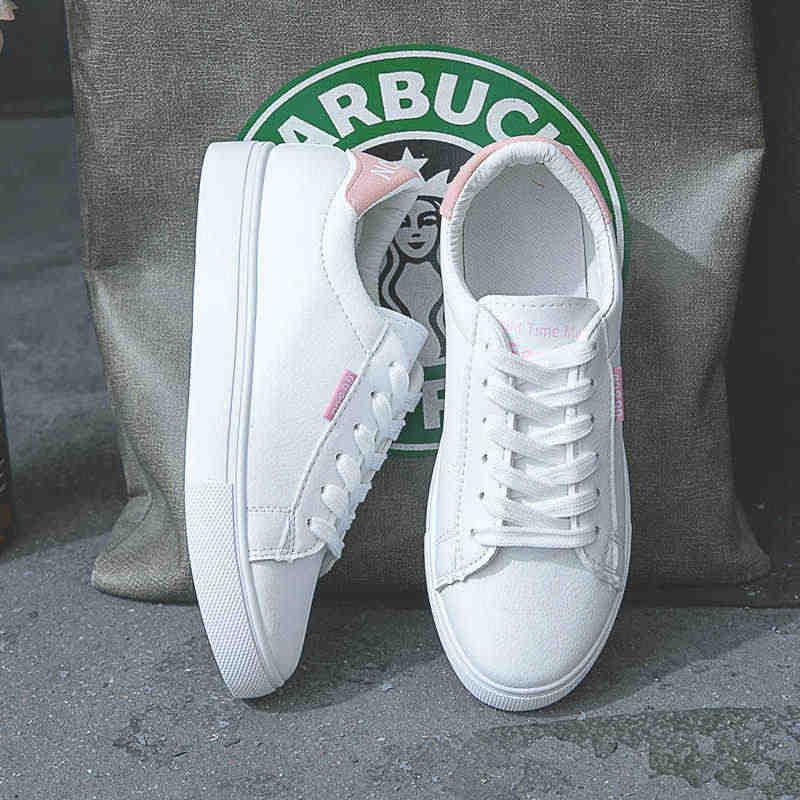 HOT Vrouwen Sneakers Mode Breathble Gevulkaniseerd Schoenen Pu leer Platform Lace up Casual Wit Tenis Feminino Zapatos De Mujer 9