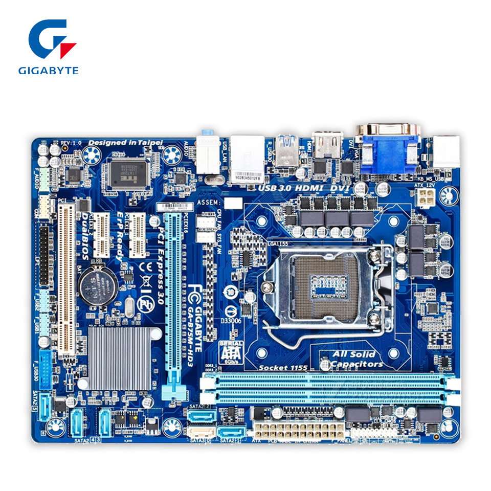 где купить Gigabyte GA-B75M-HD3 Original Used Desktop Motherboard B75M-HD3 B75 LGA 1155 i3 i5 i7 DDR3 16G Micro-ATX дешево