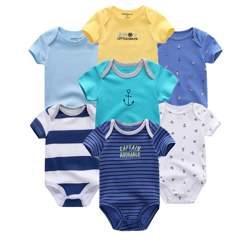 HTB1FaudaPzuK1Rjy0Fpq6yEpFXaA Top Quality 7PCS/LOT Baby Boys Girls Clothes 2019 Fashion Roupas de bebe Clothing Newborn rompers Overall baby girl jumpsuit