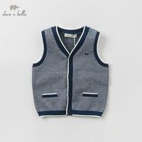 DB10458 dave bella spring baby boys 100% cotton vest children high quality sleeveless coat kids Waistcoat 1 pc