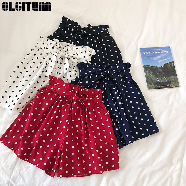 High Waist Shorts Women 2019 New Short Pants High Waist Sweet Bow Tie Elasticated Wide-leg Pants Fashion Polka Dot Chiffon Short