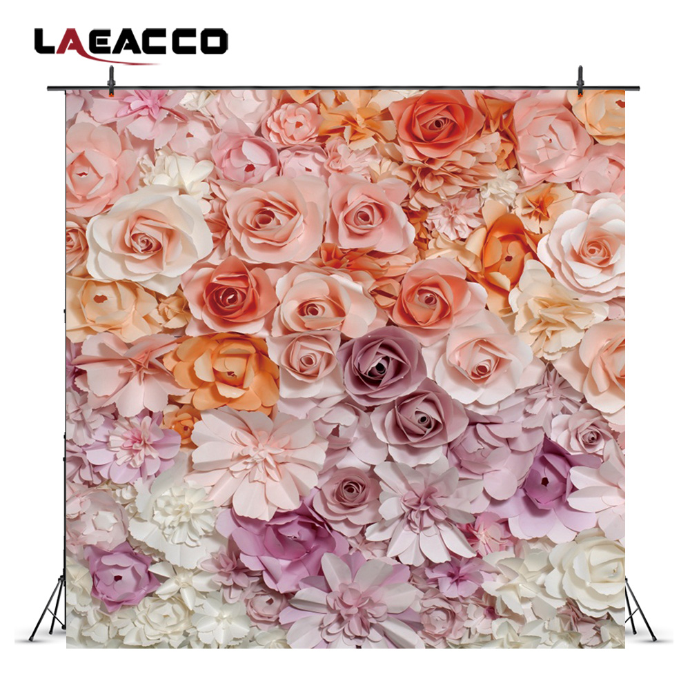 Laeacco Gradient Blooming Paper Flowers Wall Scene Photography