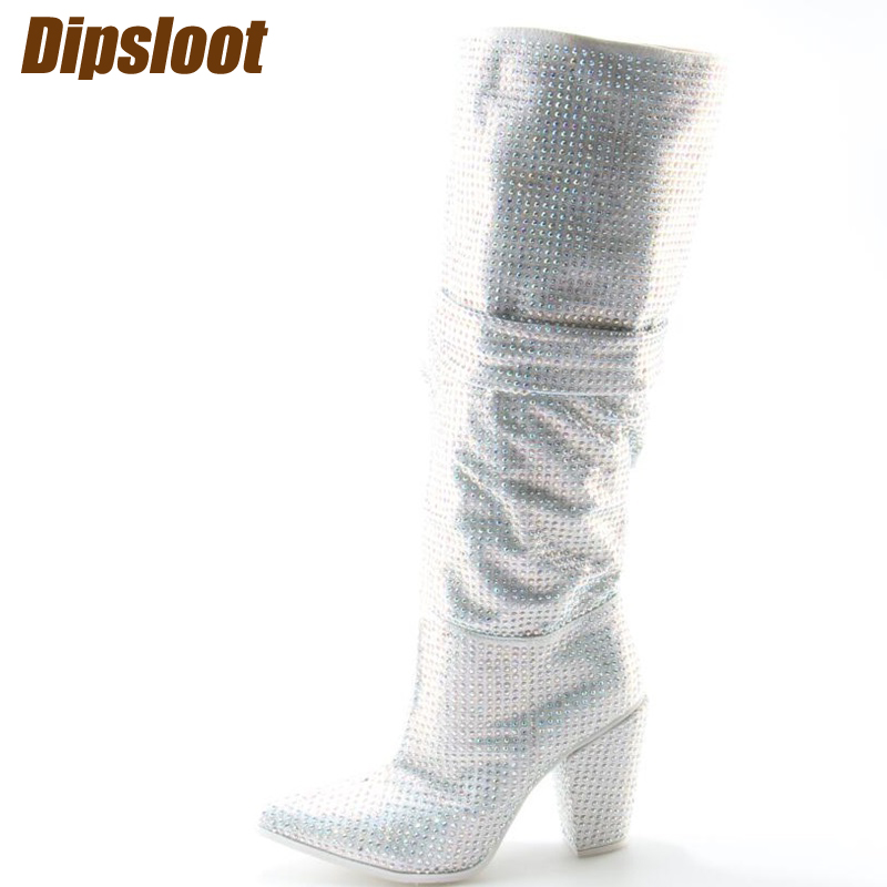 Newest Luxury Crystal Women Pointy Toe Knee High Boots Sexy Chunky Heel