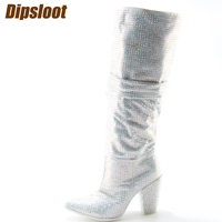 2017 Newest Luxury Crystal Women Pointy Toe Knee High Boots Sexy Chunky Heel Boots Slip On