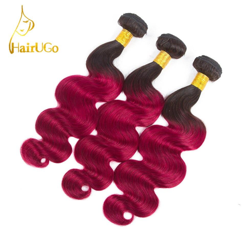 HairUGo Hair Pre-Colored Peruvian Hair Body Wave 3 Bundles #1B/Bug Color human hair Non Remy Hair Weaving