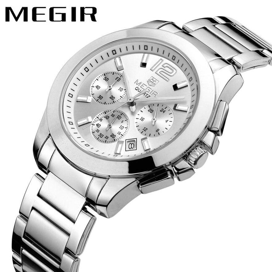 MEGIR montre à Quartz mode hommes bracelet en acier inoxydable 24 H affichage de Date montre-bracelet d'affaires Top marque de luxe relogio masculino