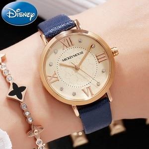 Genuine Disney snakeskin Leather Band Japan Quartz 3ATM waterproof Wrist Watch Women Buckle Watches Gift Box Freeshipping Mickey