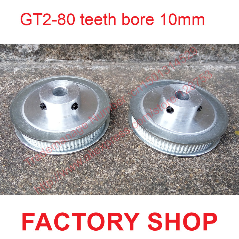 whole sale 2pcs 80 teeth Bore 10mm GT2 Timing Pulley 80 tooth fit width 6mm of 2GT timing Belt High quality Free shipping цена