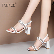 Sandals Women Summer Shoes Footwear Genuine Leather Rivets Thick Heel