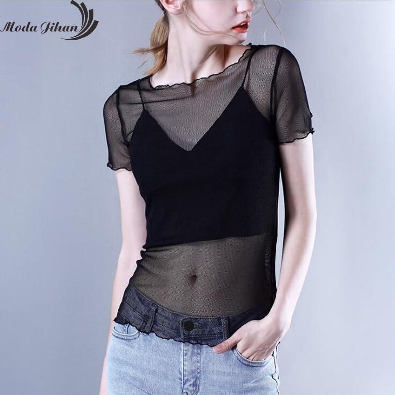Moda Jihan Women Shirt Mesh Short Sleeve Trimming Hem Tops Perspective See Through Tops Black White Tshirts Ladies