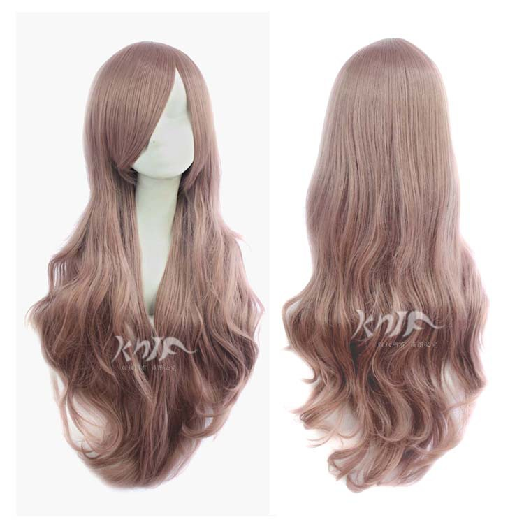 80 Cm Harajuku Cosplay Wig Anime Long Wavy Curly brown Not Lace Heat Resistant Synthetic Hair Wigs Party