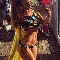 2016 New Pineapple Bikini Set Crop Top Swimming Suit For Women Brazilian Biquini Leotard Push Up