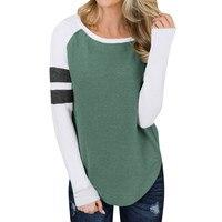 Новое поступление женские блузки Для женщин Повседневное осень в стиле пэчворк с длинными рукавами Толстовка блузка рубашка свитер Домашн