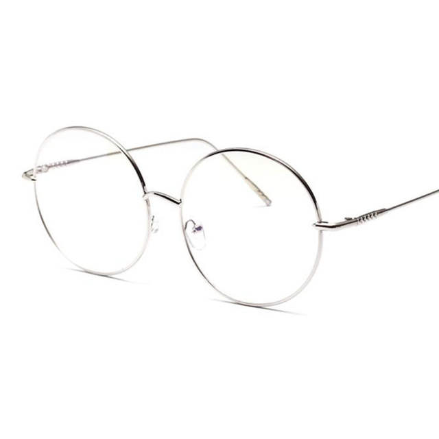 d2ce77a6c10 Oversized Clear Round Glasses Silver Metal Frame Vintage Sexy Circle Glasses  Brand Designer Huge Big Nerd