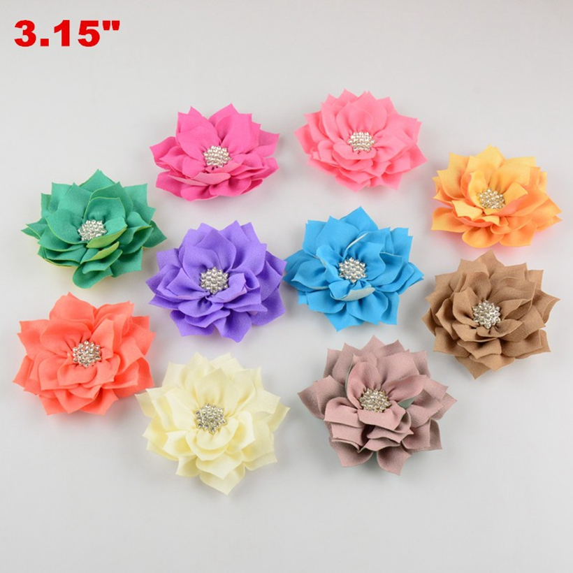 100pcs lot 3 Multilayer Angle Rhinestone Headdress Flower Kids Fabric Flower DIY K Hair Accessories Lotu
