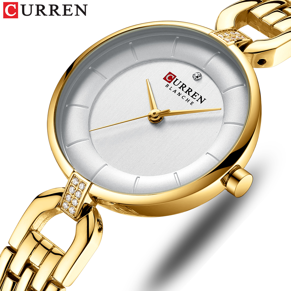 CURREN 2019 Ladies Watches Top Brand Luxury Watches Women Fashion Watch 2019 Luxury Stainless Ultra Thin Small Watch Women Gold(China)
