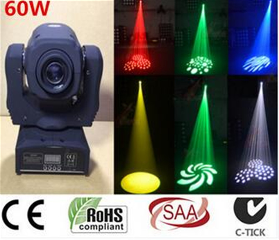 2017 new LED 60W lighting DMX stage lighting 9/11 channel dj 8 gobos effect stage light mini LED moving head light  10pcs/lot rg mini 3 lens 24 patterns led laser projector stage lighting effect 3w blue for dj disco party club laser