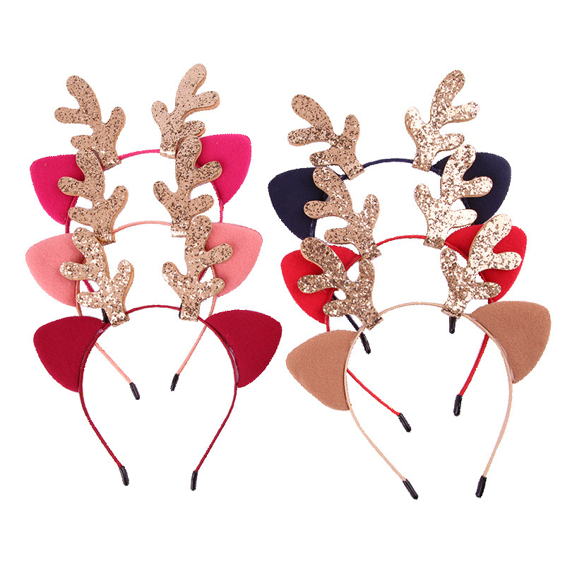 Glitter Antlers Christmas Headband Party Girls Kids DIY Little Deer Horn Headwear Christmas Party Hair Accessories Party Supplie