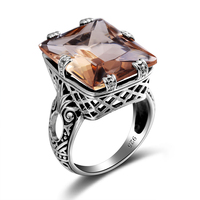 New Arrival Jewelry Rectangle Amber Wedding Bands 925 SterlingSilver Rings For Bridal Jewelry Crystal Party Gifts