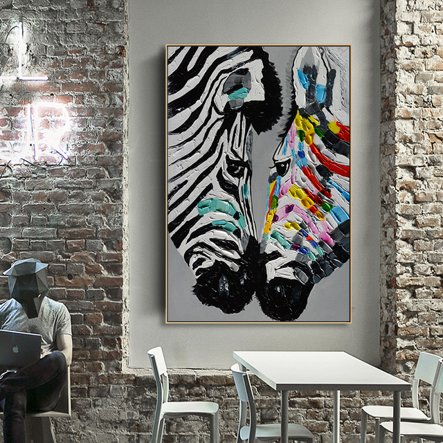 Texture Effect Colorful Zebra Posters  Canvas Art  1