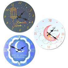 Электронные безрамные 3D настенные наклеивающиеся на стену часы стикер мусульманский Рамадан ИД Мубарак украшение дома