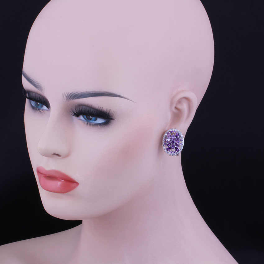 Fantastic สีม่วง Cubic Zirconia สีขาว CZ 925 เงินสเตอร์ลิง Hoop Huggie ต่างหูผู้หญิง V0379