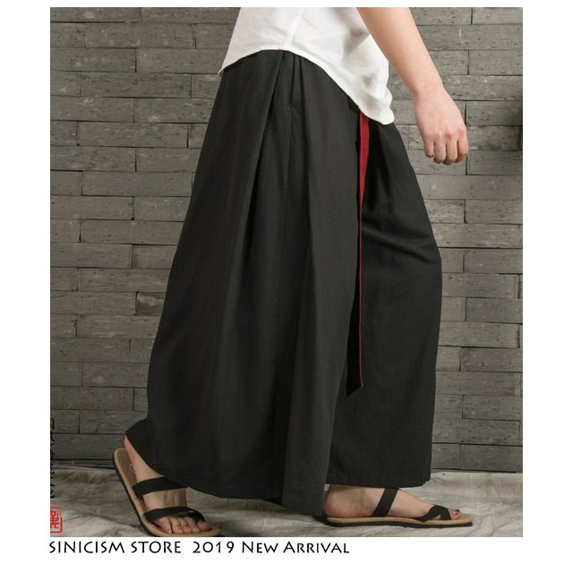 Sinicism Store 2020 Japanese Wide Leg Pants Men Streetwear Casual Cotton Linen Man Sweatpants Summer Chinese Style Male Joggers 28