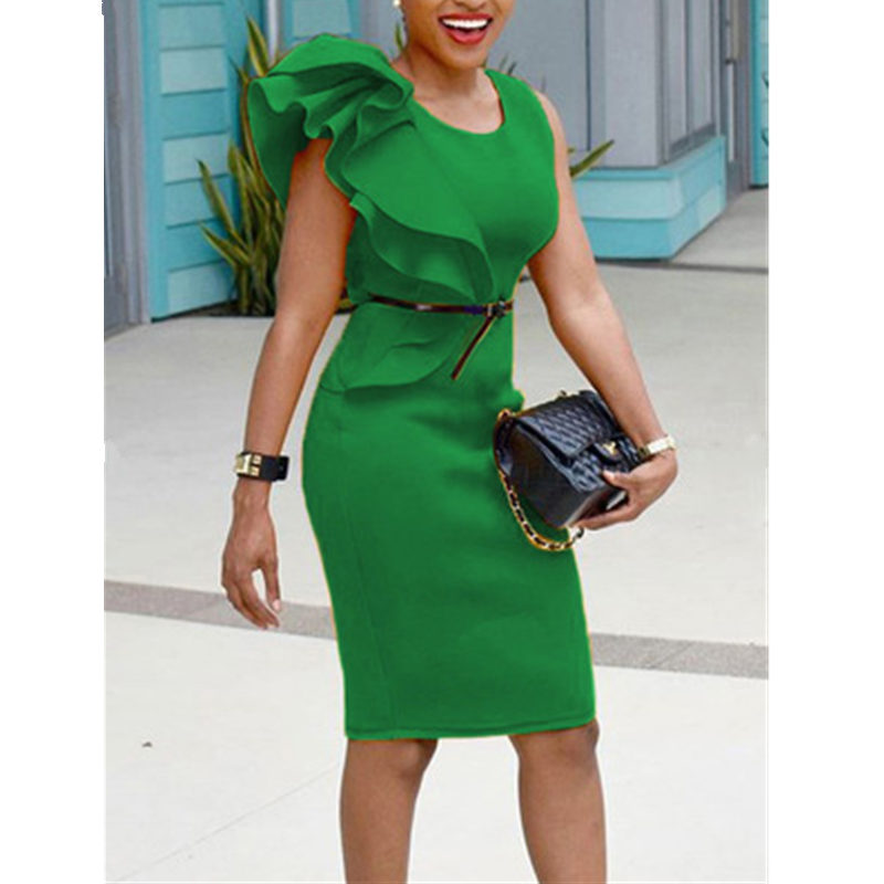 2019 Summer Women <font><b>Sexy</b></font> Bodycon Midi <font><b>Dress</b></font> Ruffle O-Neck Slim Fit Female Green <font><b>Dress</b></font> Plus Size <font><b>5xl</b></font> Ladies Pencil <font><b>Dress</b></font> Vestidos image