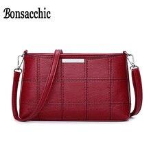 Bonsacchic Малый PU кожаные сумки Для женщин сумка женская через плечо сумки для Для женщин 2018 клатч кошелек Bolsa feminina красная сумочка