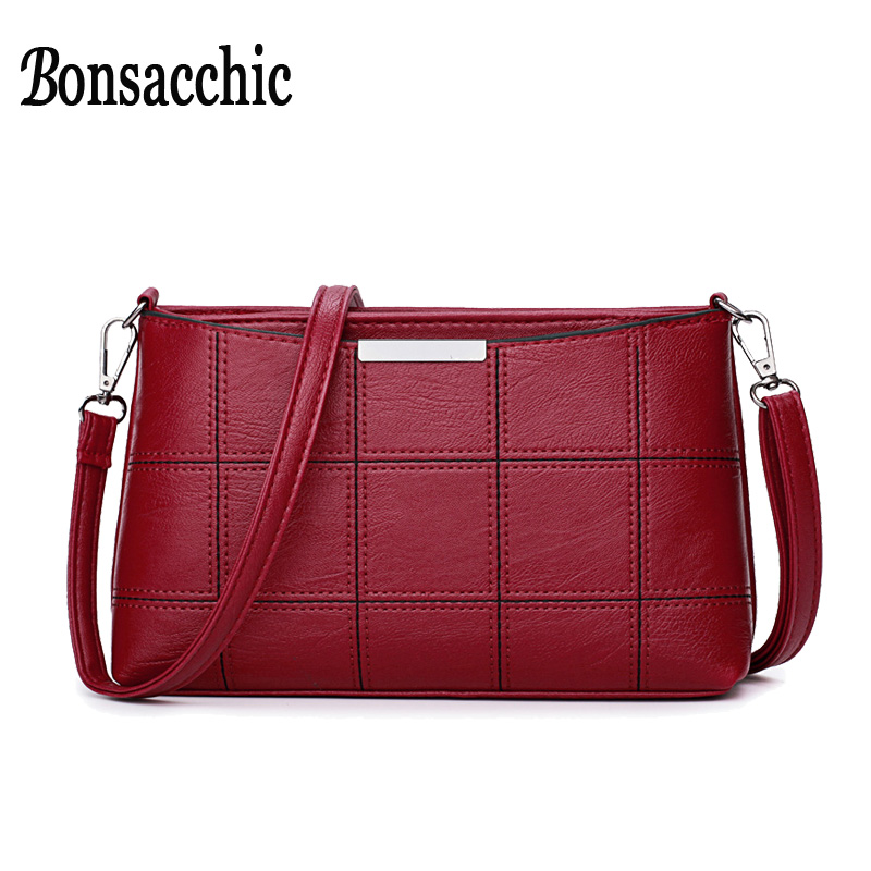 Bonsacchic Small PU Leather Bags Women Shoulder Bag Female Crossbody Bags for Women 2018 Clutch Purse bolsa feminina Red Handbag