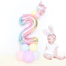 16pcs/set kids Birthday Column Balloon 32inch rainbow Numbers 0- 9 unicorn Foil Ballons Baby Shower Decoration Party Supplies