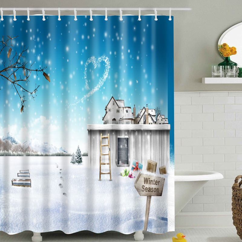 Fantasy Snow Scene Pattern New Shower Curtain Colorful Eco Friendly Polyester High Quality Washable Bath Decor 1p