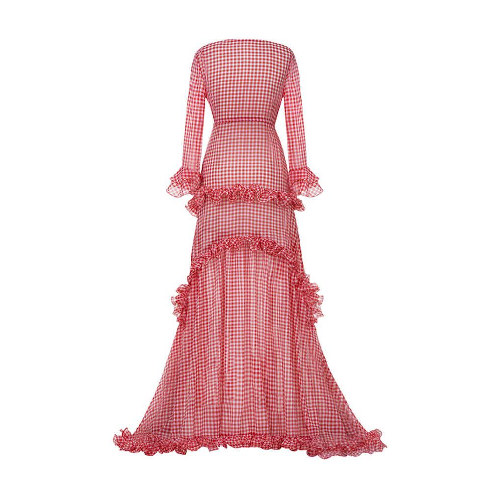Women Evening Party Spring Summer Ruffle Layered Extra Long Sweet Pink Dress Belt Lapel Deep V Neck Maxi Gown Red Plaid Dress