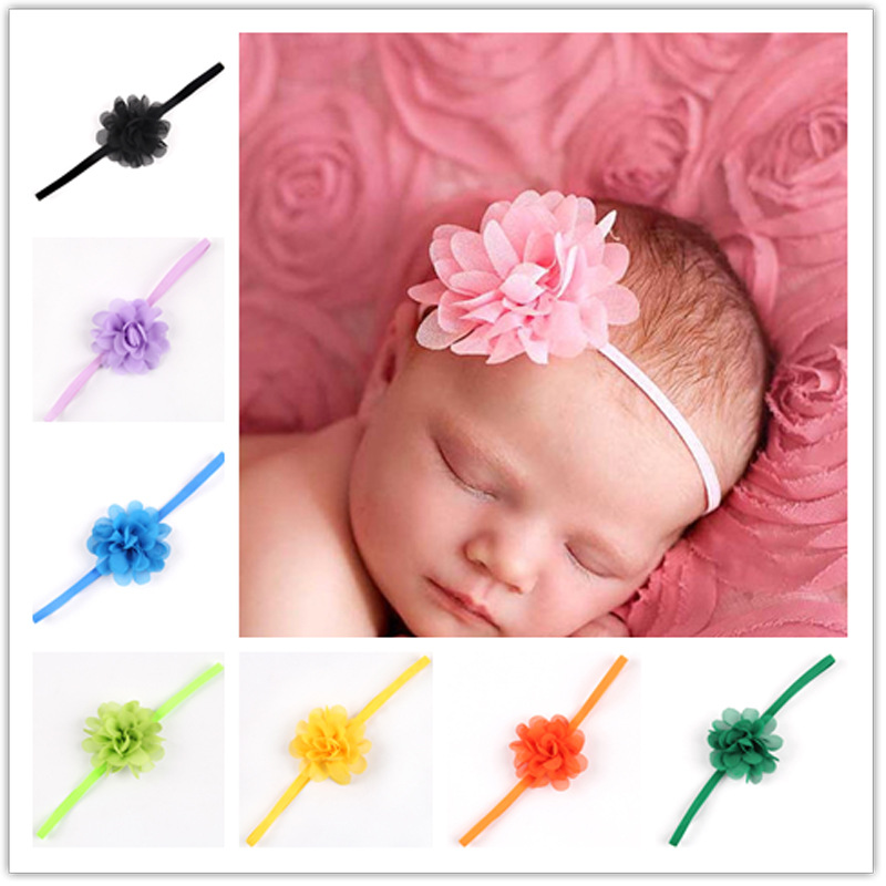 1 Piece MAYA STEPAN Children Headdress Chiffon Flower Hairband Baby Newborn Girls Hair Rope Headband   Headwear   Headwrap