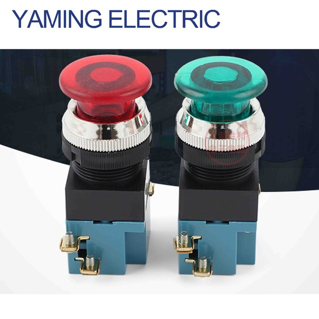 P187 ON-OFF Mushroom Push Button Switch 3800V Electrical Industrial Switch 4 Screws With Light Green/Red LA19-11J
