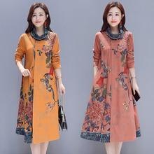 Fashion 2019 New Autumn Winter Women Dresses Casual Plus Size Casual Dress Thick Long Sleeve Turtleneck Print Vintage Dress